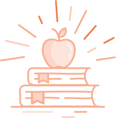 Orange school books with an apple
